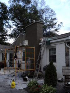 Chimney stucco job in the process.