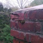 crumbling brick and mortar on chimney top